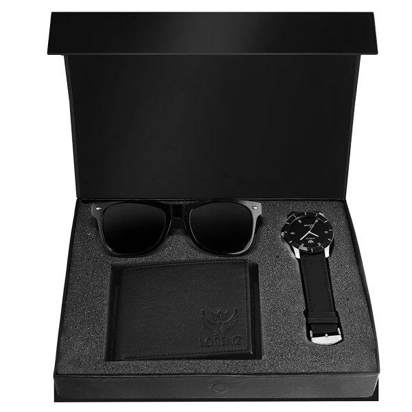 Combo of Black Men's Wallet, Sunglasses & Watch