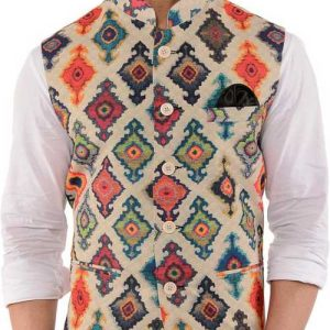 Floral Print Men Waistcoat