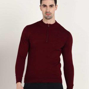 Solid Crew Neck Casual Men Maroon Sweater