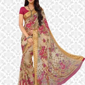 Printed, Floral Print Bollywood Poly Georgette, Chiffon Saree
