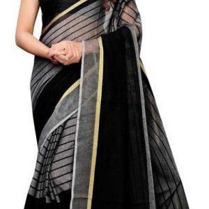 Striped, Woven Handloom Cotton Blend, Poly Silk Saree