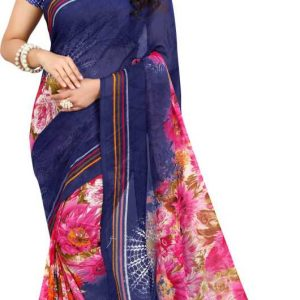 Ombre, Floral Print Daily Wear Georgette Saree