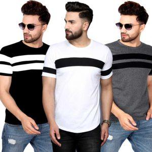Color Block Men Round Neck White, Black, Grey T-Shirt
